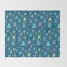 Winter Holidays Christmas Tree Green Forest Pattern Throw Blanket