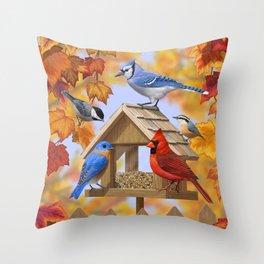 Autumn Bird Feeder Gathering Throw Pillow