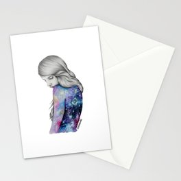 Galaxy Girl Watercolour Painting (Series 1) Stationery Cards