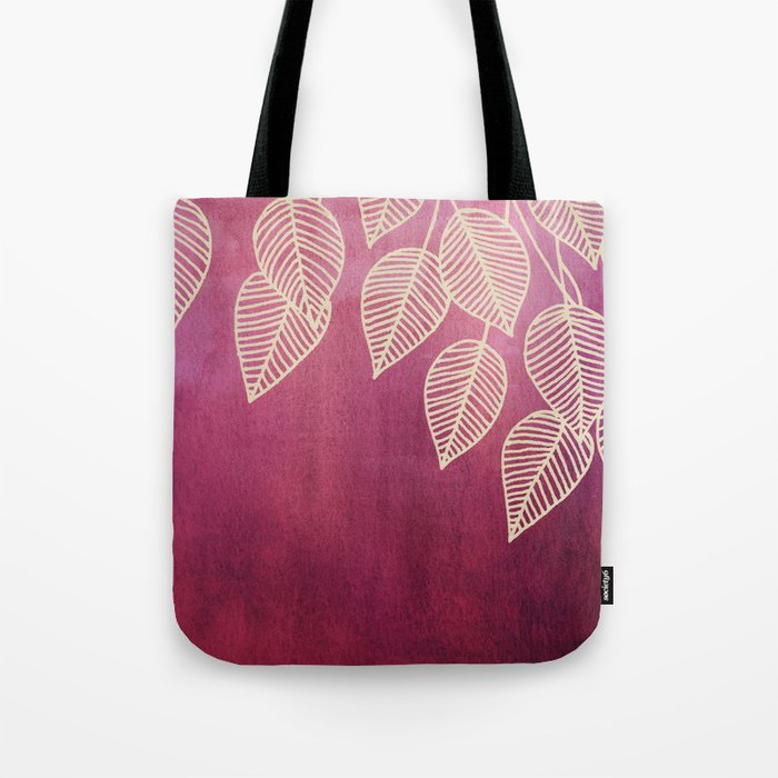 Magenta Garden - watercolor & ink leaves Tote Bag