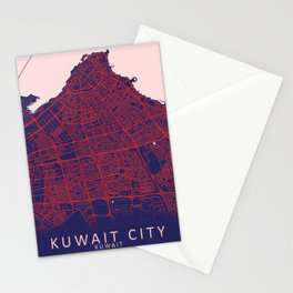 Kuwait City, Kuwait, Blue, White, City, Map Stationery Cards