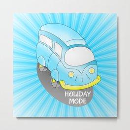 Road Trip Blue Van Metal Print