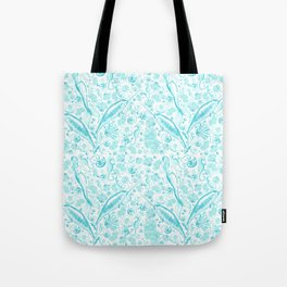Mermaid Toile - Teal Tote Bag