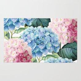 Pink Blue Hydrangea Rug