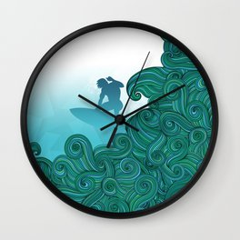 Surfer dude hangin ten and catching a wave Wall Clock