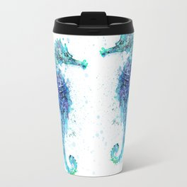 Blue Turquoise Watercolor Seahorse Travel Mug