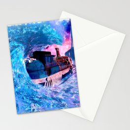 Locomotive watercolor sunset train poster Stationery Cards
