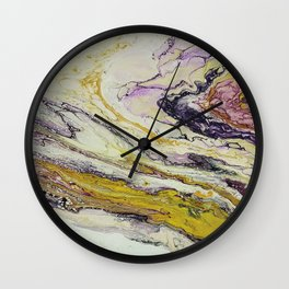 Planet of reptiles, abstract, acrylic on canvas Wall Clock