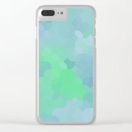 Shades of Blue and Green Octagon Abstract Clear iPhone Case