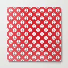 Red and White Polka Dot - Nautical Red Anchor Metal Print