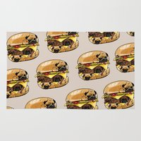 burger Area & Throw Rugs featuring Pugs Burger by Huebucket