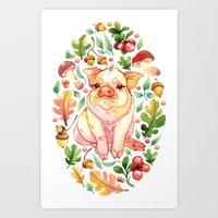 piglet Art Prints featuring Piglet by Achtung