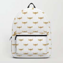 Golden Dragonfly Repeat Gold Metallic Foil on White Backpack