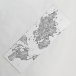 Oh darling, where to next... detailed world map in grayscale watercolor Yoga Mat