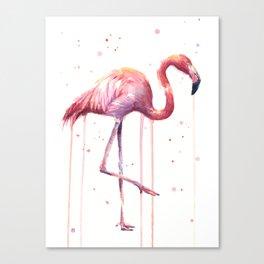 Pink Flamingo Portrait Watercolor Animals Birds   Facing Right Canvas Print