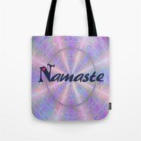 namaste Tote Bags featuring Namaste by Stay Inspired