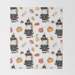 cartoon thanksgiving pattern with pilgrim unicorns, pumpkins, apples, pears, leaves and acorns Throw Blanket