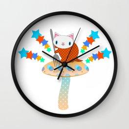 Feline Fungus Feast Wall Clock