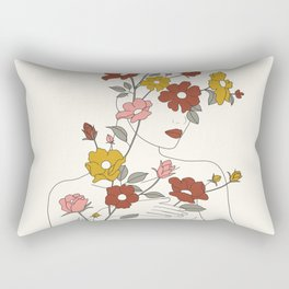 Colorful Thoughts Minimal Line Art Woman with Wild Roses Rectangular Pillow
