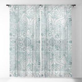 Yoga, Mandala, Prints Green, Wall Art Boho Sheer Curtain
