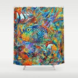Tropical Beach Art - Under The Sea - Sharon Cummings Shower Curtain