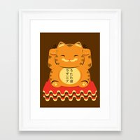 garfield Framed Art Prints featuring Lucky Garfield by Ashley Hay