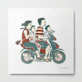 People of Bali - Family Ride Metal Print