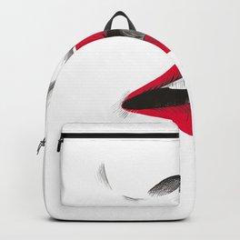 Kiss Sketch Illustration Hand Drawn Black Red White Backpack