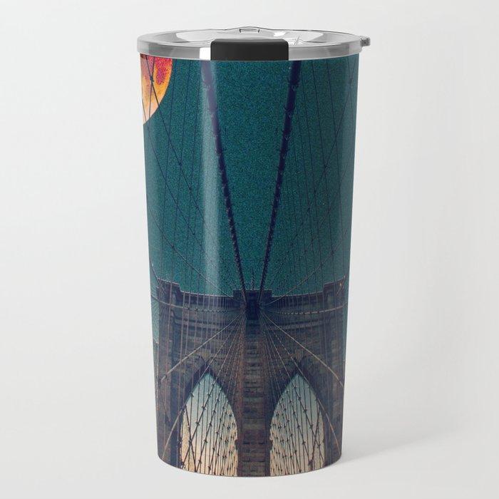 Blood Moon over the Brooklyn Bridge and New York City Travel Mug