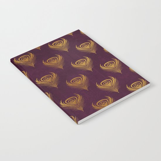 Purple gold peacock feather Notebook