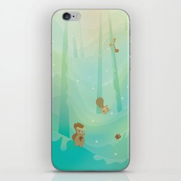Hide and Seed (Cartoon Squirrels, Mint Green Snow Forest) iPhone Skin