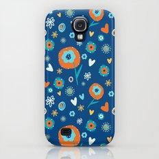 Flowers on Blue Galaxy S4 Slim Case