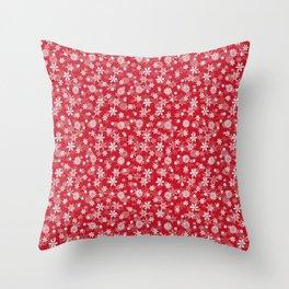 Christmas Red Poinsettia Snow Flakes Throw Pillow