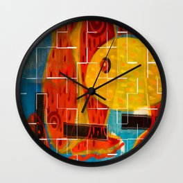 Crossing reds, crackle Wall Clock