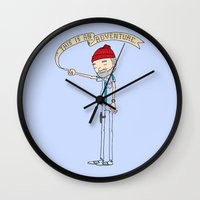"bright Wall Clocks featuring ""THIS IS AN ADVENTURE."" - Zissou by Derek Eads"