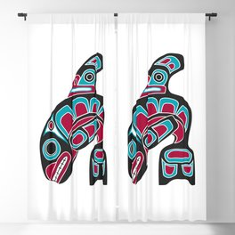 Pacific Northwest Coast Orca Whale Haida Art - Native American Tribal Blackout Curtain
