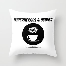 Superheroes and Scones Throw Pillow