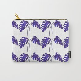 Indigo Monstera Leaf Watercolor - on white Carry-All Pouch