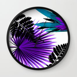 PALM AND FERN PURPLE BLACK AND WHITE TROPICAL PATTERN Wall Clock