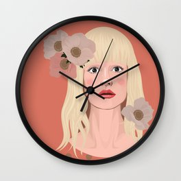 Lady and lowers (1) Wall Clock