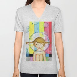 Bubble Girl - Self Portrait Unisex V-Neck