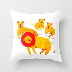 Lion Family Throw Pillow