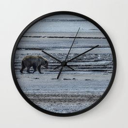 Brown Bear Looking For Clams Wall Clock