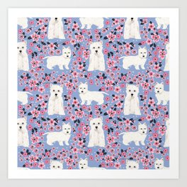 Westie cherry blossoms west highland terrier cutest fluffy white dog breed pattern art Art Print