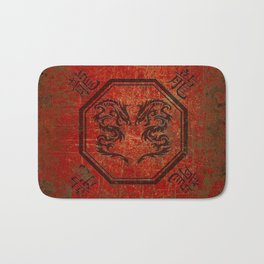 Distressed Dueling Dragons in Octagon Frame With Chinese Dragon Characters Bath Mat