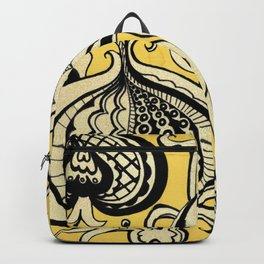 Black and Yellow Floral Backpack