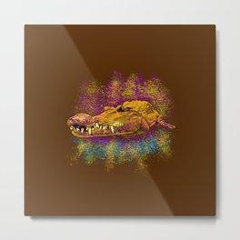 Chilling Crocodile Metal Print