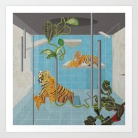 tigers Art Prints featuring tigers by peterffy