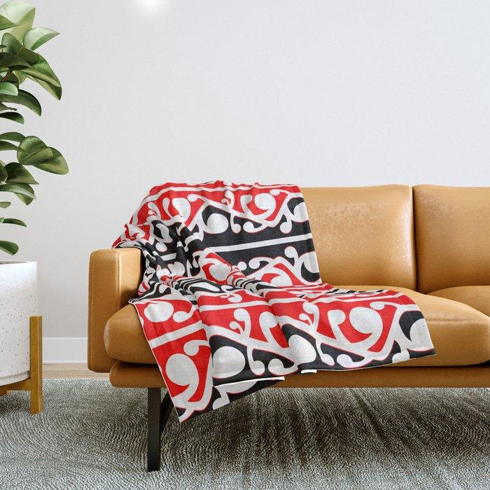 Maori Kowhaiwhai Traditional Pattern Throw Blanket