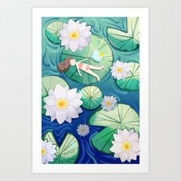Girl Lay On Lotus Art Print